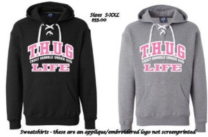 Great hooded sweatshirt with sport lace on the neck.  Sweatshirts are $55 plus shipping if needed.