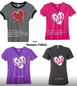 Women's and girls t-shirts- v-neck and ringer style (runs small)- $20 each plus shipping if needed